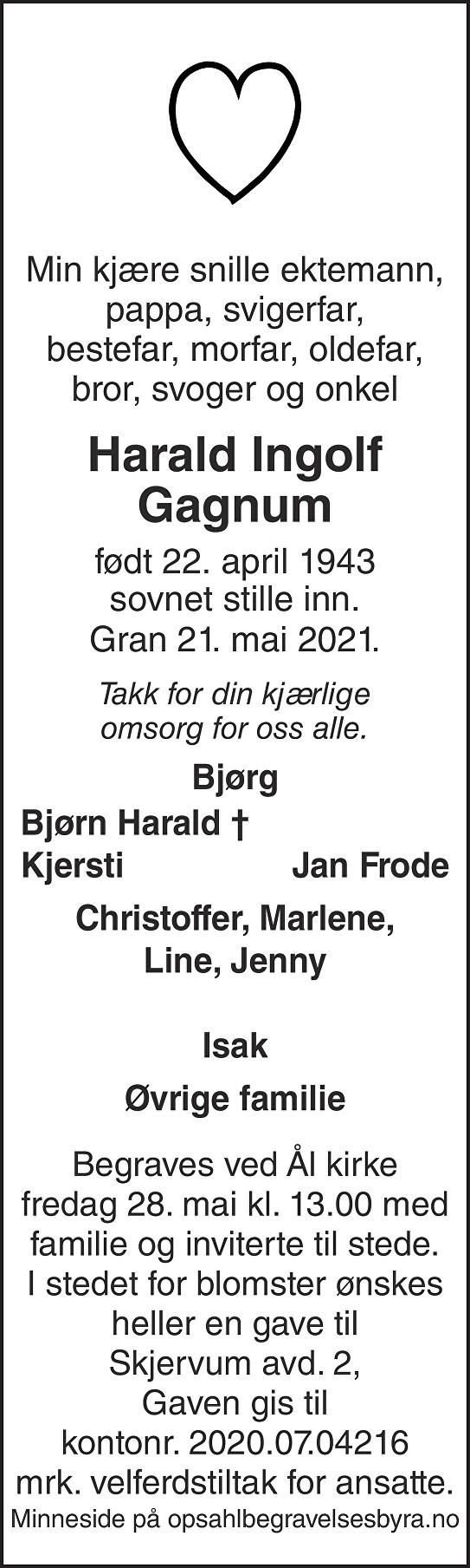 Harald Ingolf Gagnum Dødsannonse