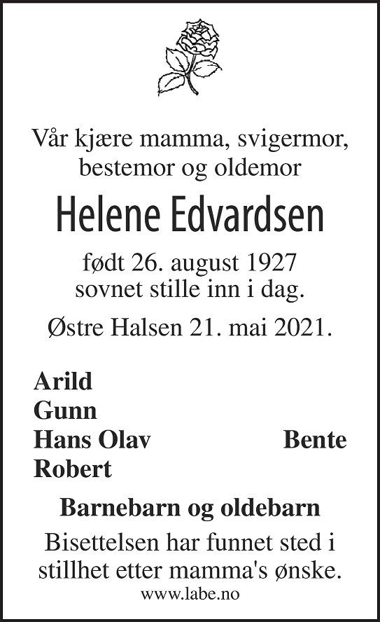 Oddlaug Helene Edvardsen Dødsannonse