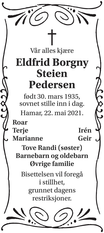 Eldfrid Borgny Pedersen Dødsannonse