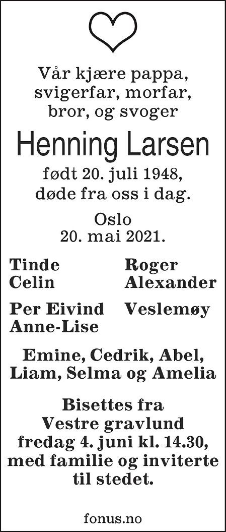 Henning Larsen Dødsannonse