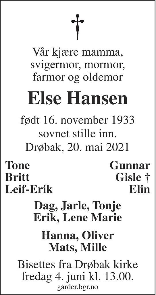 Else Hansen Dødsannonse