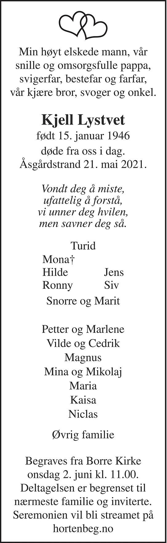 Kjell Odmund Lystvet Dødsannonse