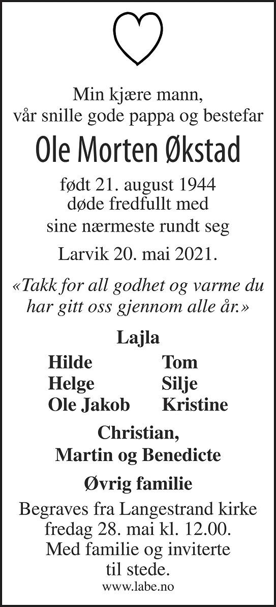 Ole Morten Økstad Dødsannonse