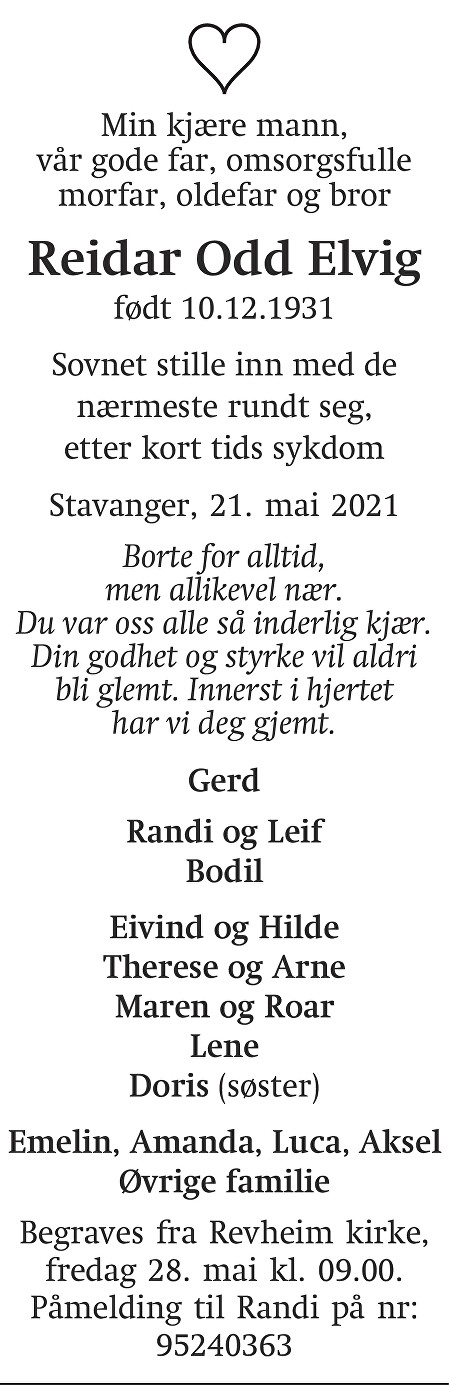 Reidar Odd Elvig Dødsannonse