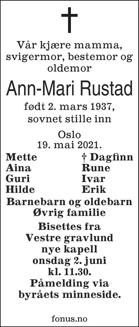 Ann-Mari Rustad Dødsannonse