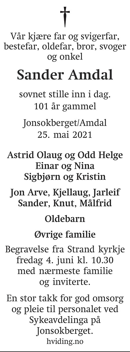 Sander  Amdal Dødsannonse