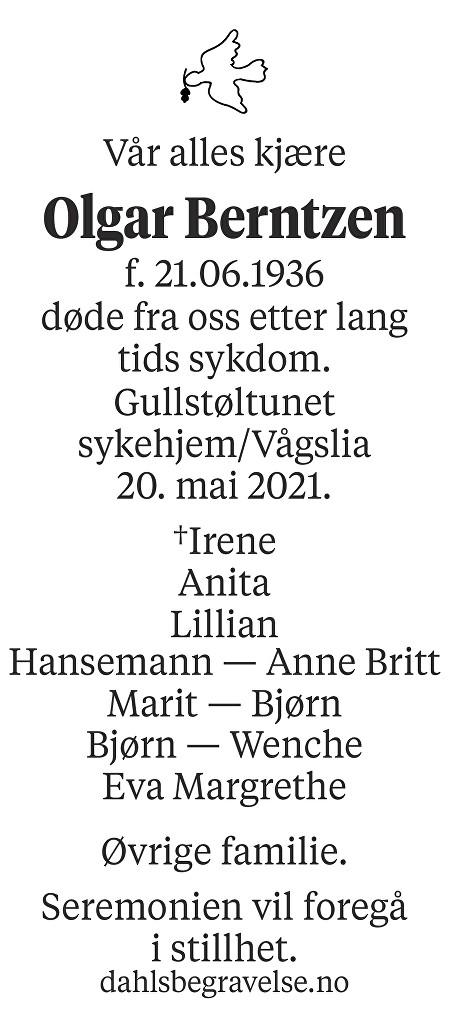 Olgar Berntzen Dødsannonse