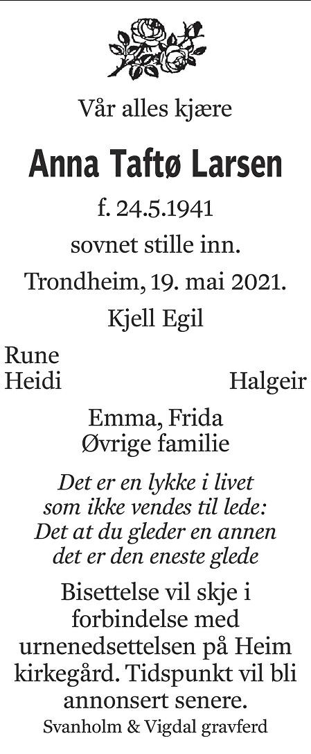 Anna Taftø Larsen Dødsannonse