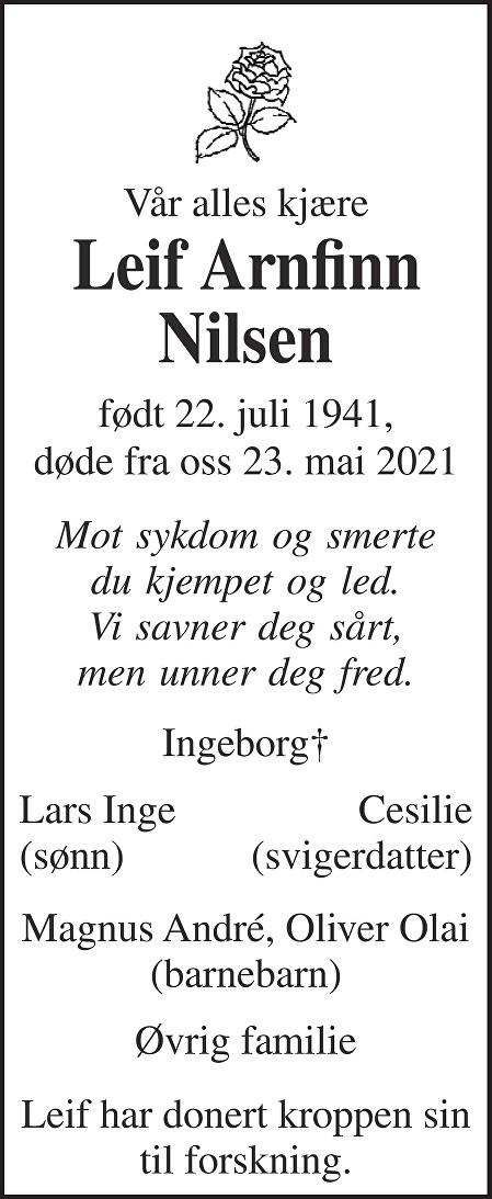 Leif Arnfinn Nilsen Dødsannonse