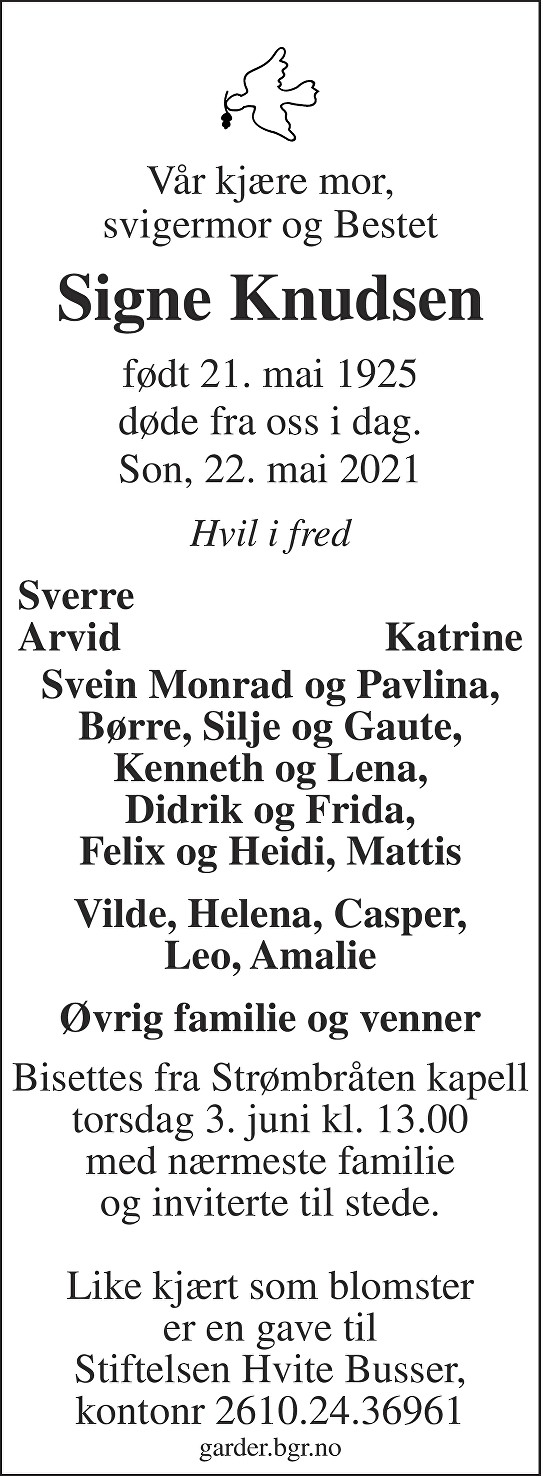 Signe Knudsen Dødsannonse