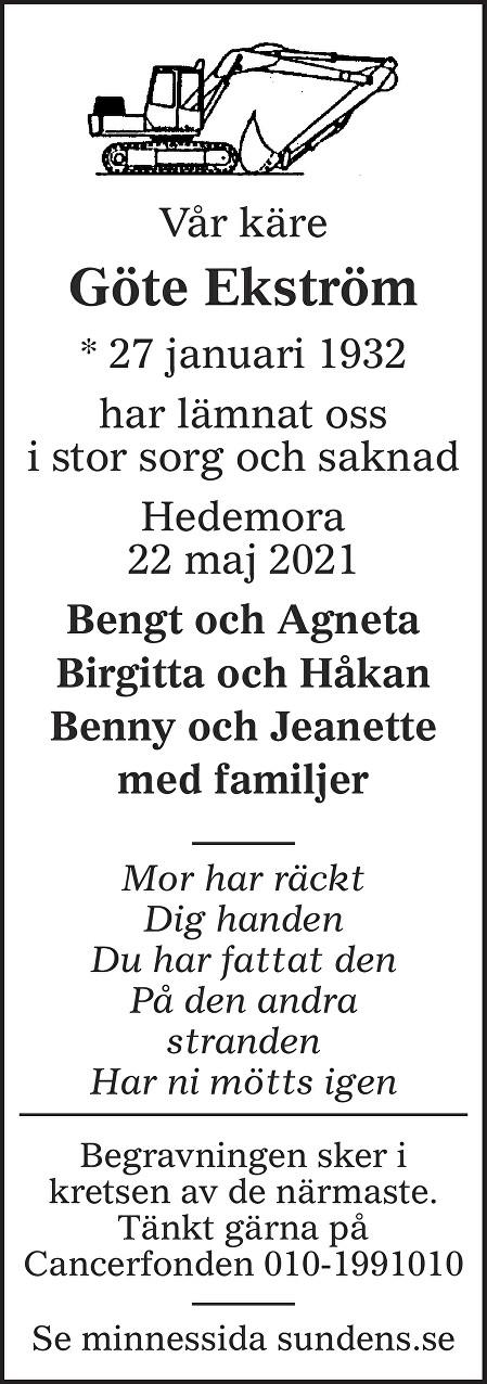 Göte Ekström Death notice