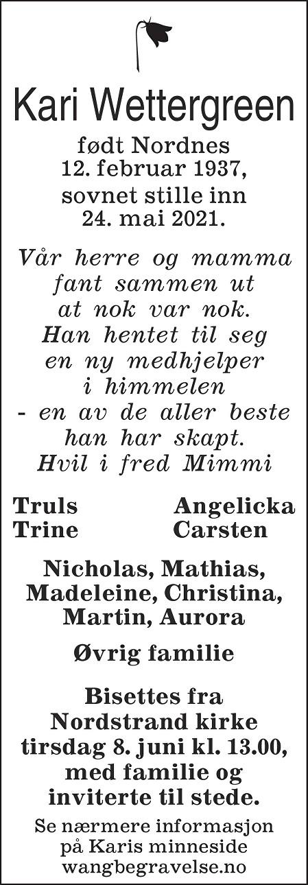 Kari Ingeborg Wettergreen Dødsannonse