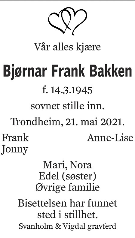 Bjørnar Frank Bakken Dødsannonse