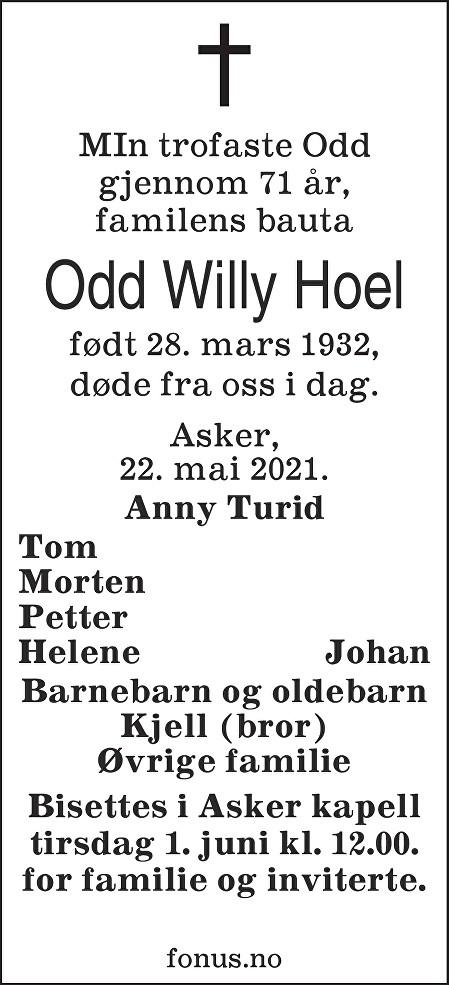 Odd Willy Hoel Dødsannonse