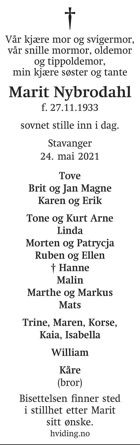 Gerd Marit Nybrodahl Dødsannonse