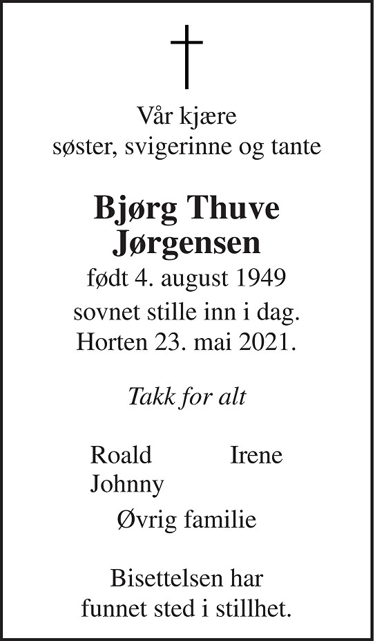 Bjørg Thuve Jørgensen Dødsannonse