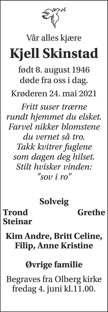 Kjell Skinstad Dødsannonse
