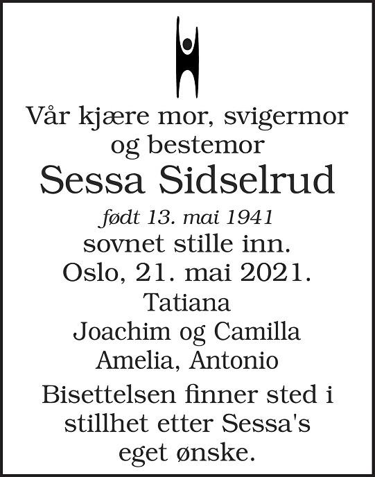 Sessa Sidselrud Dødsannonse