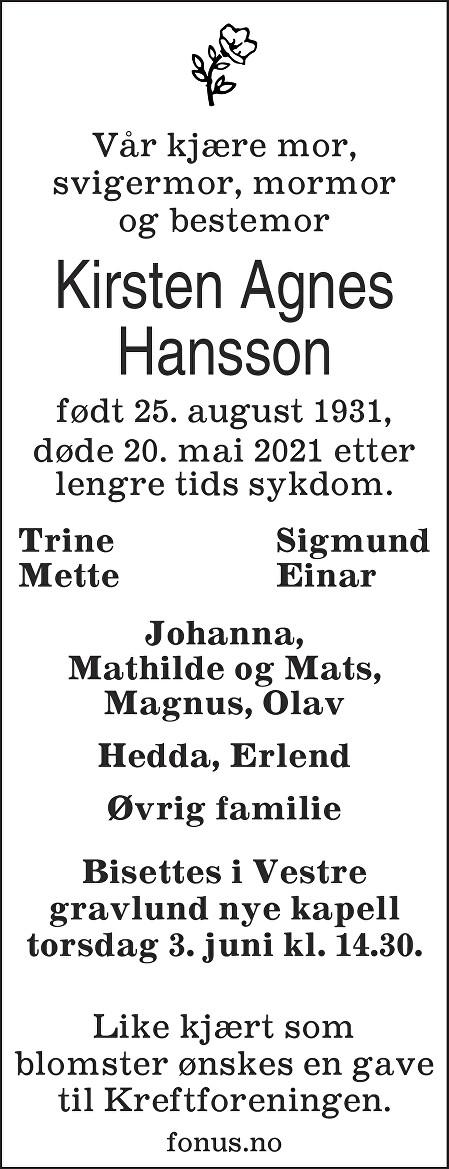 Kirsten Agnes Hansson Dødsannonse
