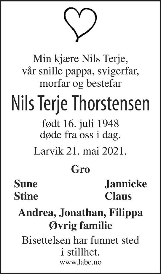 Nils Terje Thorstensen Dødsannonse