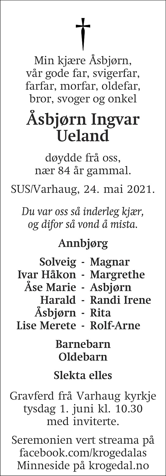 Åsbjørn Ingvar  Ueland Dødsannonse