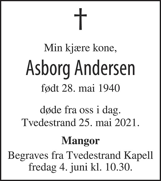 Asborg Andersen Dødsannonse