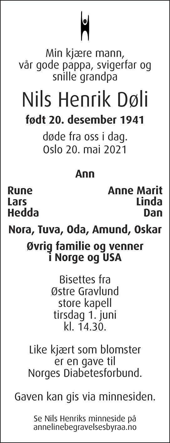 Nils Henrik Døli Dødsannonse