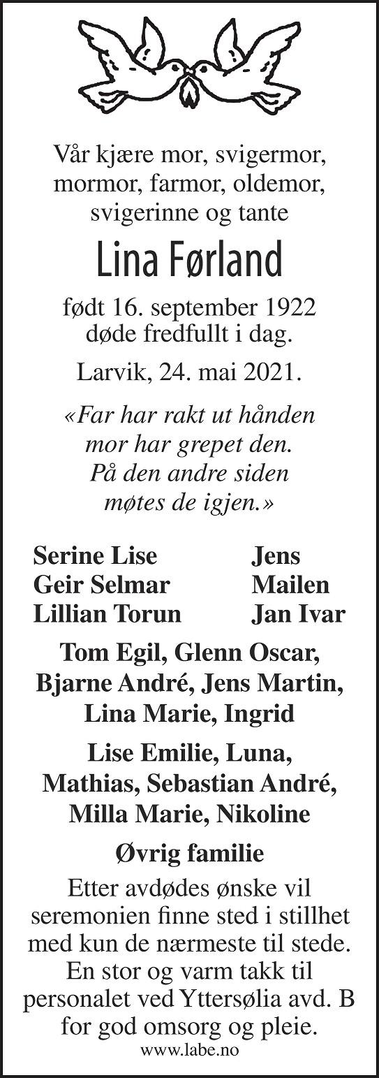 Lina Førland Dødsannonse