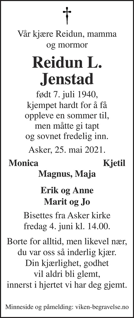 Reidun Laila Jenstad Dødsannonse