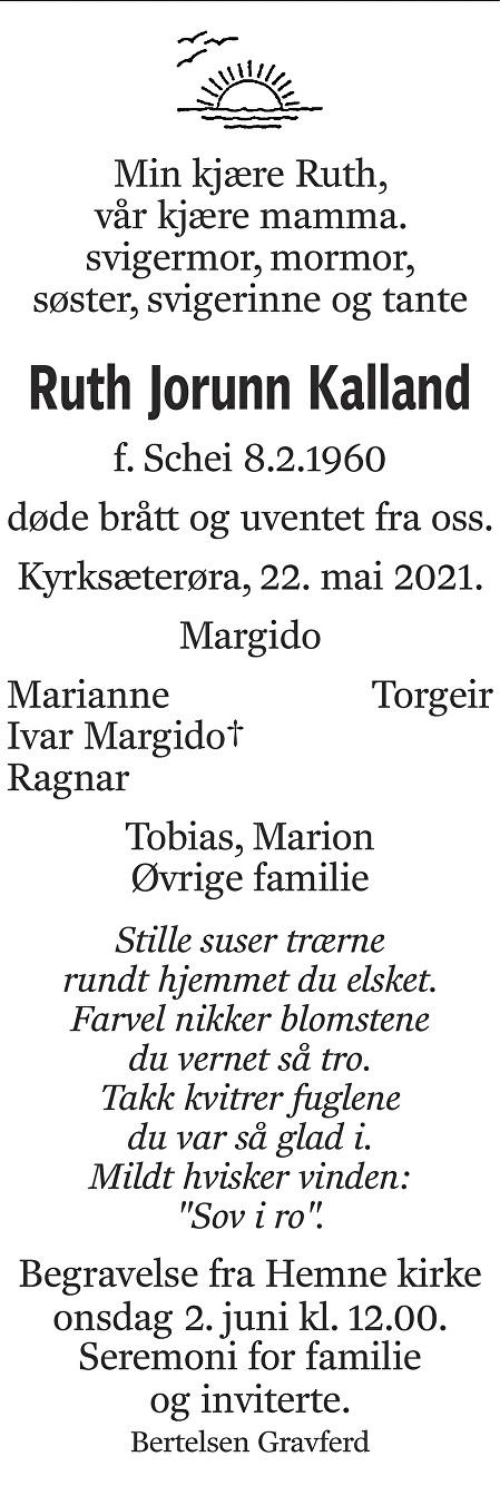 Ruth Jorunn Kalland Dødsannonse