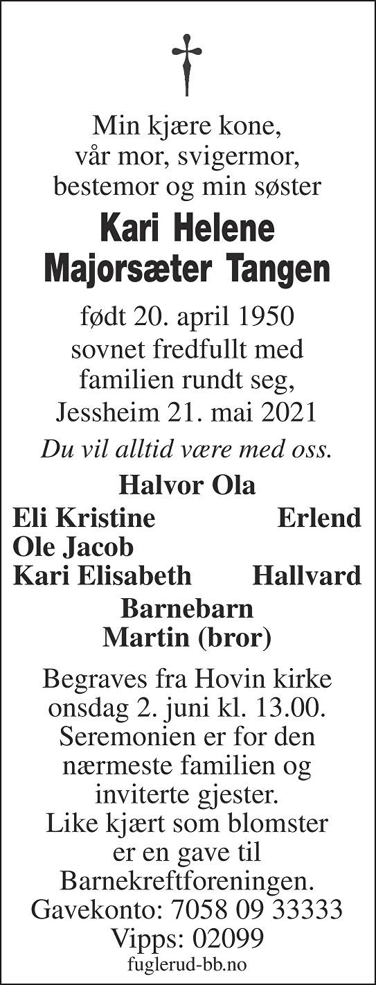 Kari Helene Majorsæter Tangen Dødsannonse