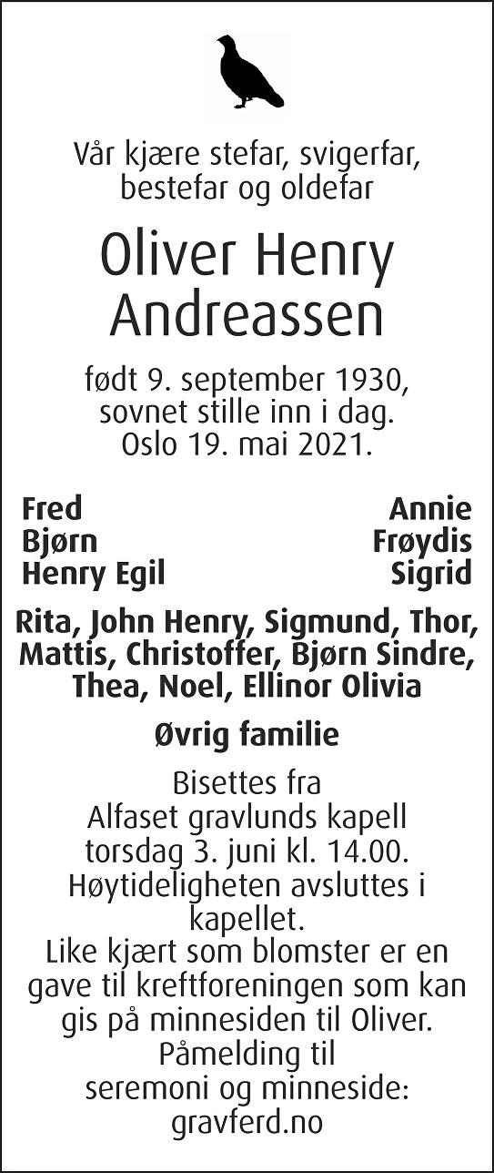 Oliver Henry Andreassen Dødsannonse