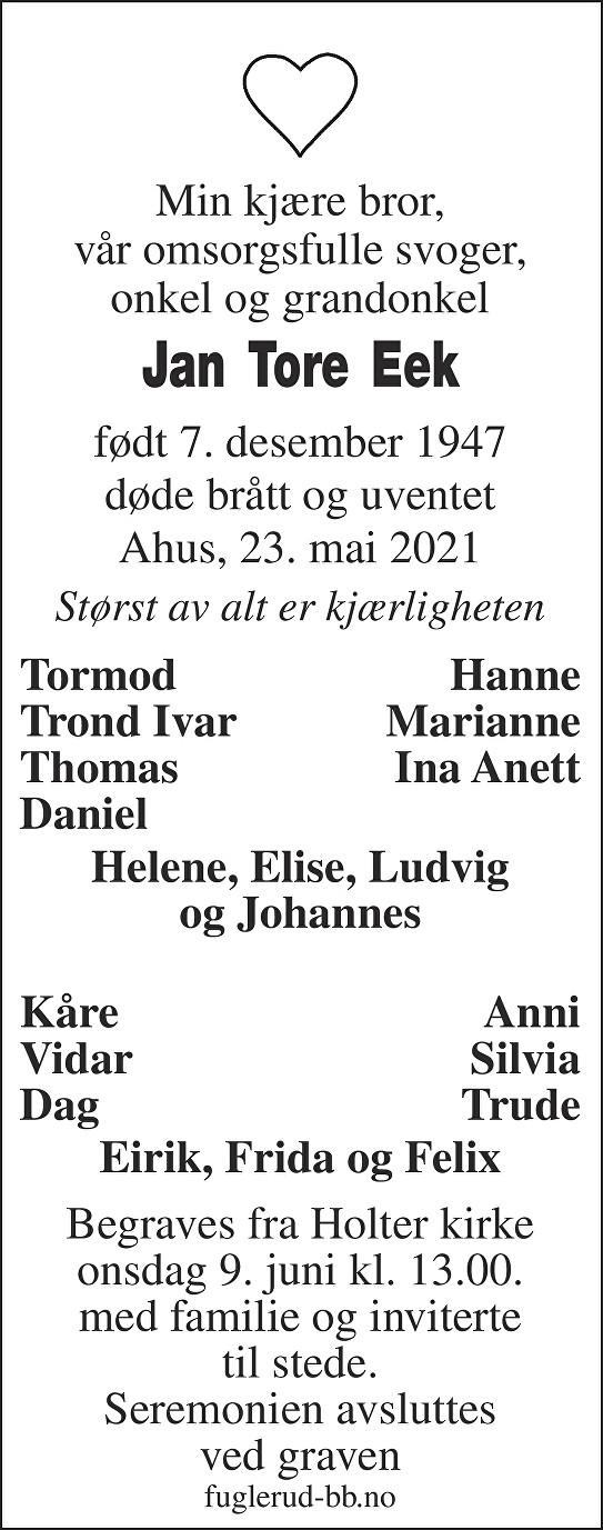 Jan Tore Eek Dødsannonse