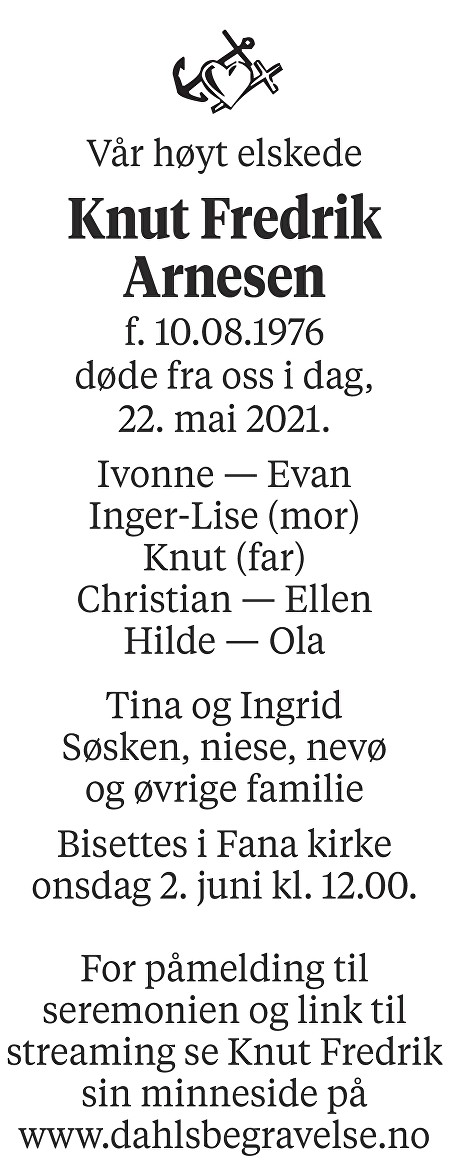 Knut Fredrik Arnesen Dødsannonse