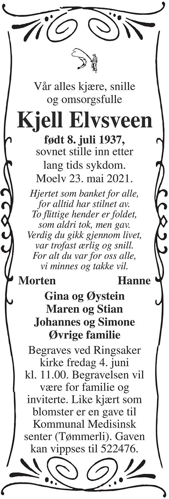 Kjell Elvsveen Dødsannonse