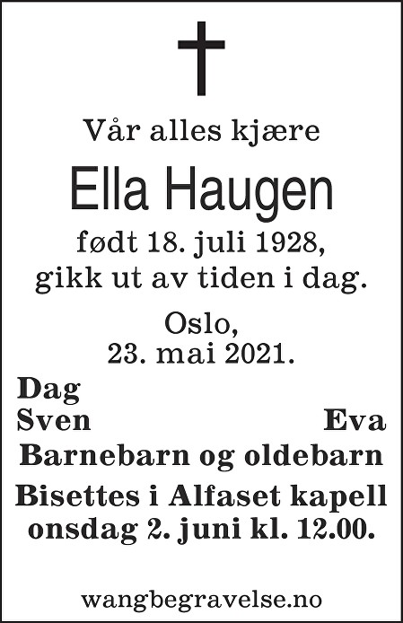 Ella Haugen Dødsannonse
