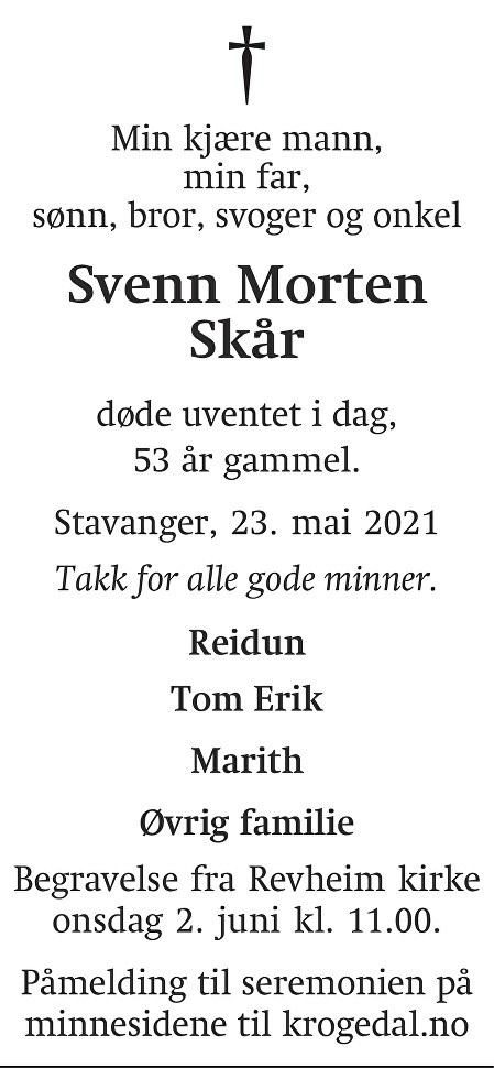 Svenn Morten  Skår Dødsannonse