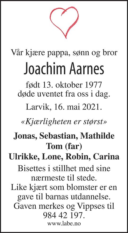 Joachim Aarnes Dødsannonse