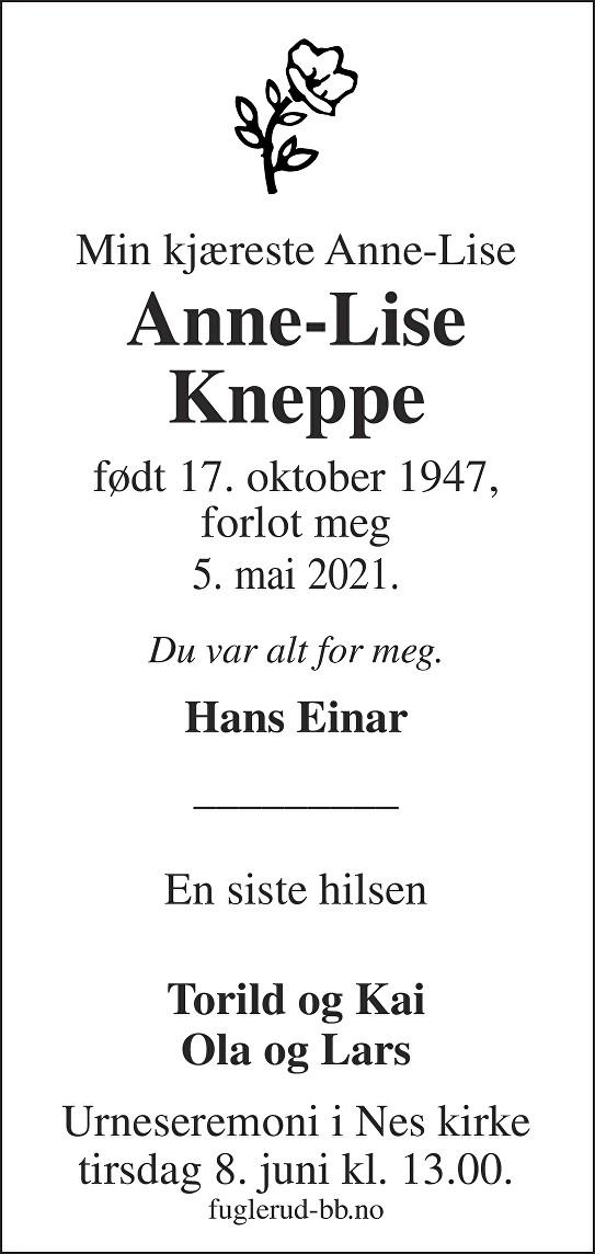 Anne-Lise Kneppe Dødsannonse