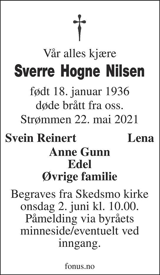 Sverre Hogne Nilsen Dødsannonse