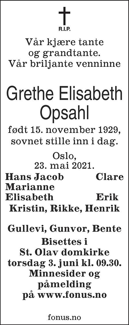 Grethe Elisabeth Opsahl Dødsannonse