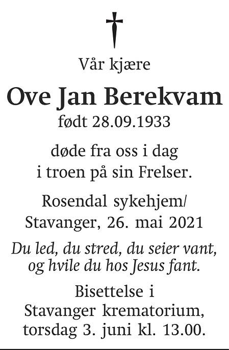 Ove Jan  Berekvam Dødsannonse