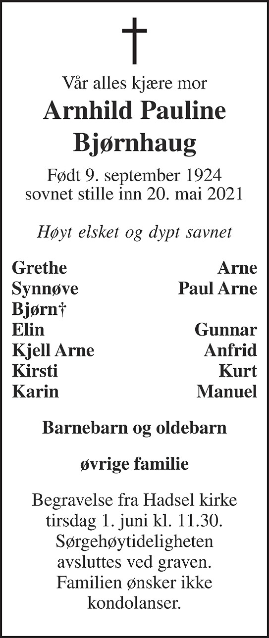 Arnhild Pauline Bjørnhaug Dødsannonse