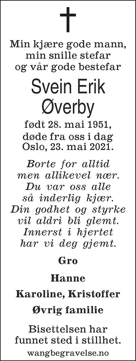 Svein Erik Øverby Dødsannonse