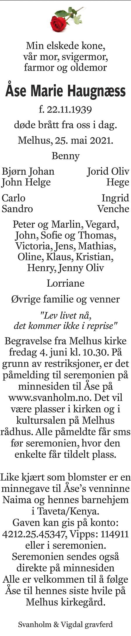 Åse Marie Haugnæss Dødsannonse