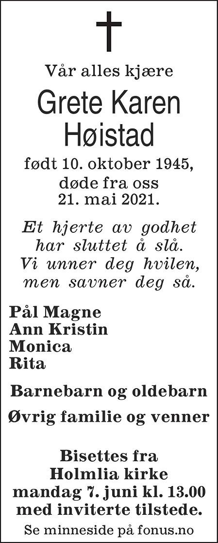 Grete Karen Høistad Dødsannonse