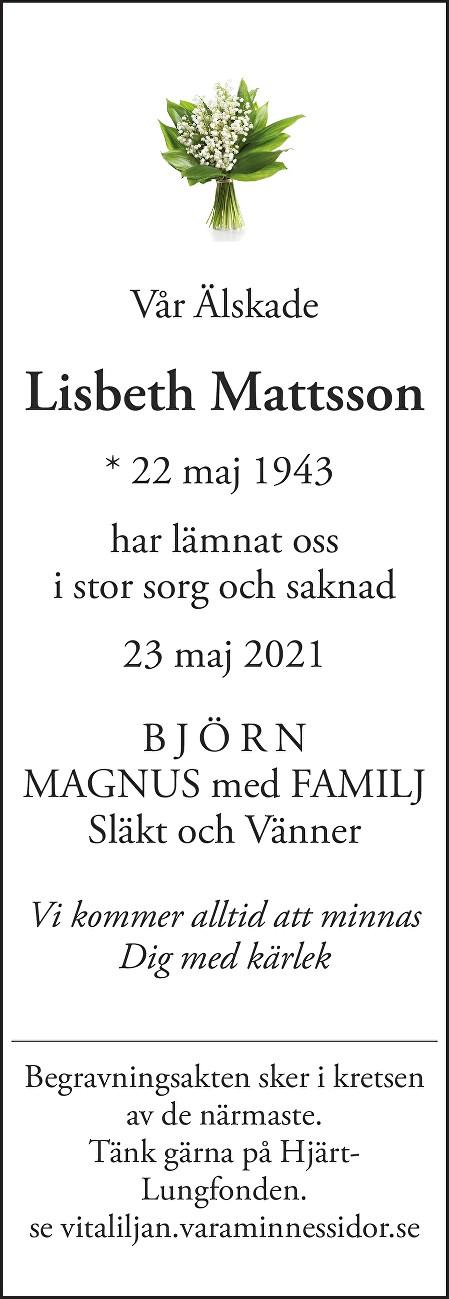 Lisbeth Mattsson Death notice