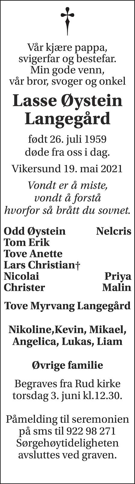 Lasse Øystein Langegård Dødsannonse