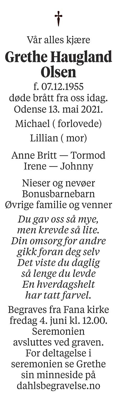 Grethe Haugland  Olsen Dødsannonse