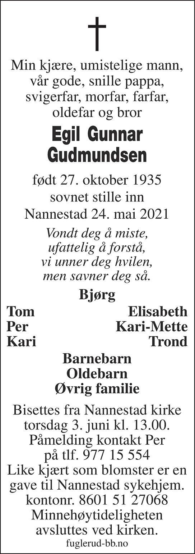 Egil Gunnar Gudmundsen Dødsannonse
